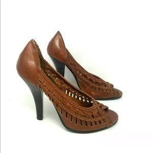 BAKERS WOVEN LEATHER OPEN TOE STILETTO PUMPS